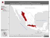 Mapa ilustrativo de Coccothraustes vespertinus (picogrueso norteño) residencia permanente. Distribución potencial.