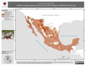 Mapa ilustrativo de Columbina passerina (tórtola coquita) usando sitios con y sin clima extremo. Distribución Potencial