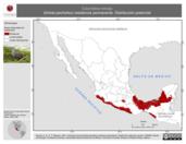 Mapa ilustrativo de Columbina minuta (tórtola pecholiso) residencia permanente. Distribución potencial.