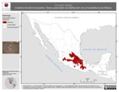Mapa ilustrativo de Conopsis lineata (Culebra de tierra toluqueña). Área de distribución potencial. La proyección citada, es exclusiva para el diseño de esta imagen.