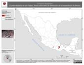 Mapa ilustrativo de Conopsis megalodon (Culebra de tierra de san Felipe). Área de distribución potencial. La proyección citada, es exclusiva para el diseño de esta imagen.