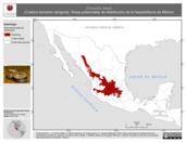 Mapa ilustrativo de Conopsis nasus (Culebra terrestre narigona). Área de distribución potencial. La proyección citada, es exclusiva para el diseño de esta imagen.