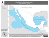 Mapa ilustrativo de Zona Económica Exclusiva de México. Límite Nacional 1:250000