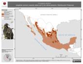 Mapa ilustrativo de Coragyps atratus (zopilote común) usando sitios con y sin clima extremo. Distribución Potencial