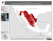 Mapa ilustrativo de Corvus cryptoleucus (cuervo llanero) residencia permanente. Distribución potencial.