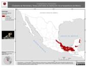 Mapa ilustrativo de Corytophanes hernandezi (Turipache de Hernández). Área de distribución potencial. La proyección citada, es exclusiva para el diseño de esta imagen.