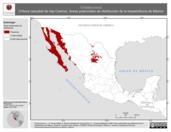 Mapa ilustrativo de Crotalus exsul (Víbora cascabel de Isla Cedros). Área de distribución potencial. La proyección citada, es exclusiva para el diseño de esta imagen.