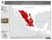 Mapa ilustrativo de Crotalus pricei (Víbora cascabel motas gemelas). Área de distribución potencial. La proyección citada, es exclusiva para el diseño de esta imagen.
