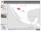 Mapa ilustrativo de Crotalus viridis (Víbora cascabel occidental). Área de distribución potencial. La proyección citada, es exclusiva para el diseño de esta imagen.