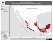 Mapa ilustrativo de Crypturellus cinnamomeus (tinamú canelo) residencia permanente. Distribución potencial.