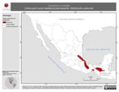 Mapa ilustrativo de Cyanolyca cucullata (chara gorro azul) residencia permanente. Distribución potencial.