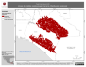 Mapa ilustrativo de Cyanolyca pumilo (chara de niebla) residencia permanente. Distribución potencial.
