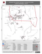 Mapa ilustrativo de Ubicación de cuerpos de agua y presas por predio. Cuenca de Burgos, zona II