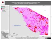 Mapa ilustrativo de Cobertura de selva baja, selva mediana y deforestación en la región de Chamela-Cuixmala-Tenacatita en 1973