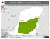 Mapa ilustrativo de Deforestación de 1978 a 2000 para el sur de Campeche y Quintana Roo