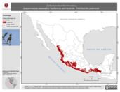 Mapa ilustrativo de Deltarhynchus flammulatus (papamoscas jaspeado) residencia permanente. Distribución potencial.