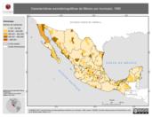 Mapa ilustrativo de Características sociodemográficas de México por municipio, 1990. La proyección citada, es exclusiva para el diseño de esta imagen.