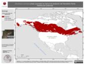 Mapa ilustrativo de Dendroica coronata (chipe coronado) en época de anidación del Hemisferio Norte. Distribución potencial.