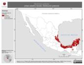 Mapa ilustrativo de Dendroica castanea (chipe castaño) tránsito. Distribución potencial.