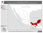 Mapa ilustrativo de Dendrocolaptes sanctithomae (trepatroncos barrado norteño) residencia permanente. Distribución potencial.