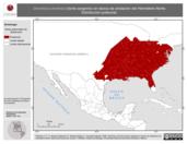Mapa ilustrativo de Dendroica dominica (tordo sargento) en época de anidación del Hemisferio Norte. Distribución potencial.