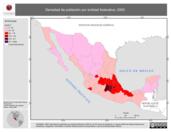 Mapa ilustrativo de Densidad de población por entidad federativa, 2000
