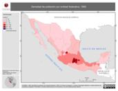 Mapa ilustrativo de Densidad de población por entidad federativa, 1995