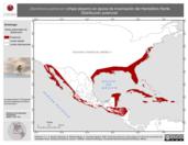 Mapa ilustrativo de Dendroica palmarum (chipe playero) en época de invernación del Hemisferio Norte. Distribución potencial.