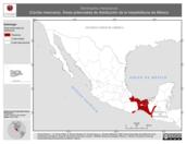 Mapa ilustrativo de Dermophis mexicanus (Cecilia mexicana). Área de distribución potencial. La proyección citada, es exclusiva para el diseño de esta imagen.