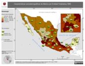 Mapa ilustrativo de Características sociodemográficas de México por Entidad Federativa, 1990. La proyección citada, es exclusiva para el diseño de esta imagen.