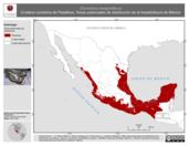 Mapa ilustrativo de Drymobius margaritiferus (Culebra corredora de Petatillos). Área de distribución potencial. La proyección citada, es exclusiva para el diseño de esta imagen.