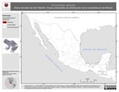 Mapa ilustrativo de Ecnomiohyla valancifer (Rana de árbol de San Martín). Área de distribución potencial. La proyección citada, es exclusiva para el diseño de esta imagen.