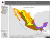 Mapa ilustrativo de Ecorregiones terrestres de México (2008)
