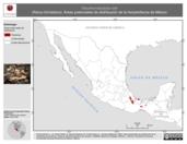 Mapa ilustrativo de Eleutherodactylus loki (Rana chirriadora). Área de distribución potencial. La proyección citada, es exclusiva para el diseño de esta imagen.