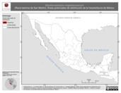 Mapa ilustrativo de Eleutherodactylus megalotympanum (Rana ladrona de San Martín). Área de distribución potencial. La proyección citada, es exclusiva para el diseño de esta imagen.