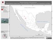 Mapa ilustrativo de Eleutherodactylus tarahumaraensis (Rana ladradora tarahumara). Área de distribución potencial. La proyección citada, es exclusiva para el diseño de esta imagen.