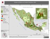 Mapa ilustrativo de Empleo en México por Entidad Federativa, 2000. La proyección citada, es exclusiva para el diseño de esta imagen.