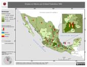 Mapa ilustrativo de Empleo en México por Entidad Federativa, 1990. La proyección citada, es exclusiva para el diseño de esta imagen.