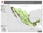 Mapa ilustrativo de Empleo en México por municipio, 2000. La proyección citada, es exclusiva para el diseño de esta imagen.