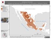 Mapa ilustrativo de Empidonax hammondii (mosquero de Hammond) usando sitios con y sin clima extremo. Distribución Potencial
