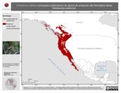 Mapa ilustrativo de Empidonax difficilis (mosquero californiano) en época de anidación del Hemisferio Norte. Distribución potencial.