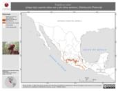 Mapa ilustrativo de Ergaticus ruber (chipe rojo) usando sitios con y sin clima extremo. Distribución Potencial