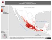 Mapa ilustrativo de Eumops underwoodi (Murciélago). Distribución potencial.