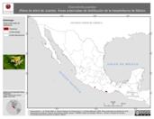 Mapa ilustrativo de Exerodonta juanitae (Rana de árbol de Juanita). Área de distribución potencial. La proyección citada, es exclusiva para el diseño de esta imagen.