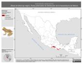 Mapa ilustrativo de Exerodonta melanomma (Rana de árbol ojo negro). Área de distribución potencial. La proyección citada, es exclusiva para el diseño de esta imagen.