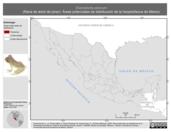 Mapa ilustrativo de Exerodonta pinorum (Rana de árbol de pinar). Área de distribución potencial. La proyección citada, es exclusiva para el diseño de esta imagen.