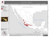 Mapa ilustrativo de Exerodonta smaragdina (Rana de árbol esmeralda). Área de distribución potencial. La proyección citada, es exclusiva para el diseño de esta imagen.