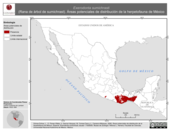 Mapa ilustrativo de Exerodonta sumichrasti (Rana de árbol de sumichrast). Área de distribución potencial. La proyección citada, es exclusiva para el diseño de esta imagen.