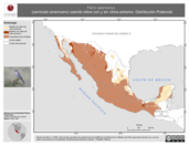 Mapa ilustrativo de Falco sparverius (cernícalo americano) usando sitios con y sin clima extremo. Distribución Potencial