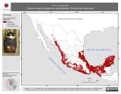 Mapa ilustrativo de Falco rufigularis (halcón enano) residencia permanente. Distribución potencial.